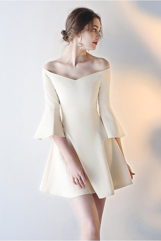 Off Shoulder Short Champagne Party Dress with Bell Sleeves