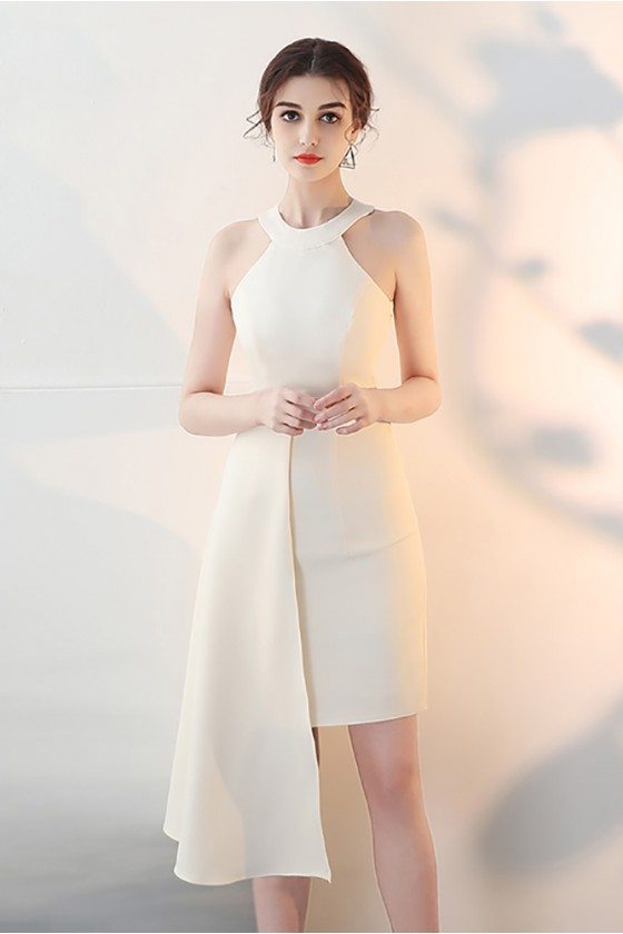 Champagne Fitted Halter Cocktail Homecoming Dress with Ruffles