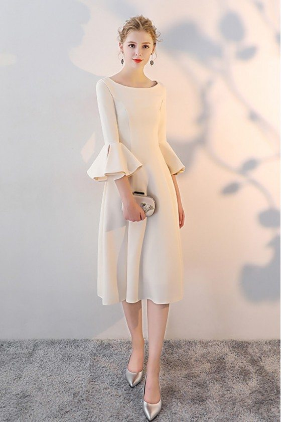 Knee Length Champagne Formal Party Dress with Bell Sleeves