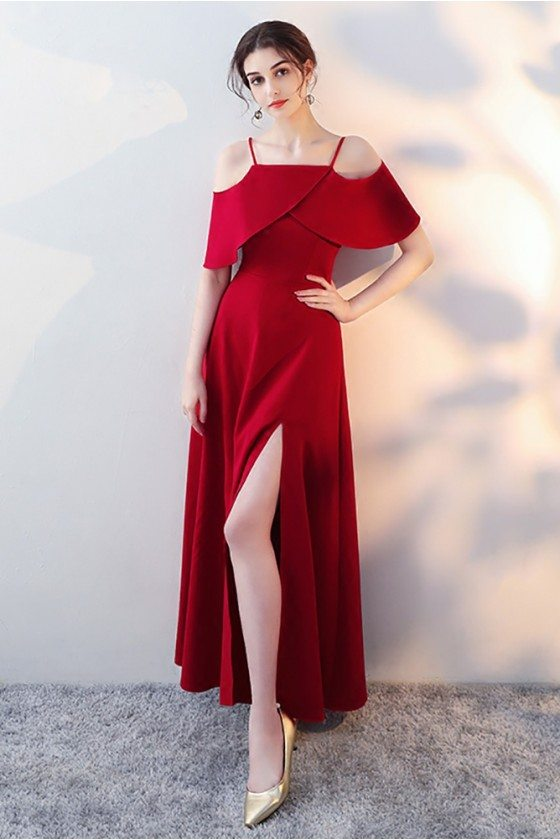 Burgundy Long Red Formal Dress Side Slit with Flounce
