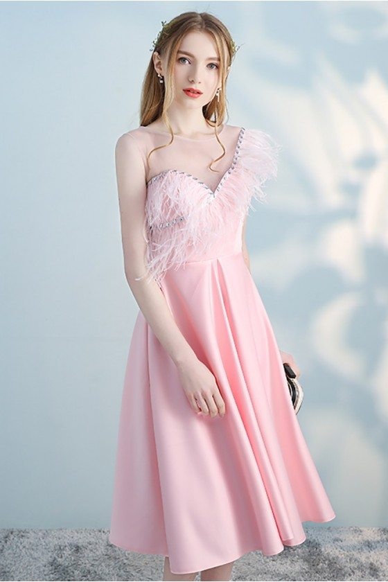 Feathers Pink Short Party Dress Sheer Beaded Neckline