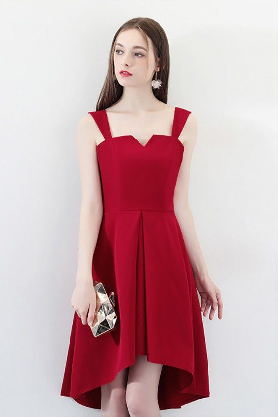 Burgundy High Low Simple Party Dress with Straps
