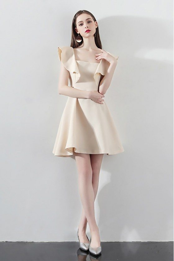 Champagne Short Homecoming Dress Aline with Flounce