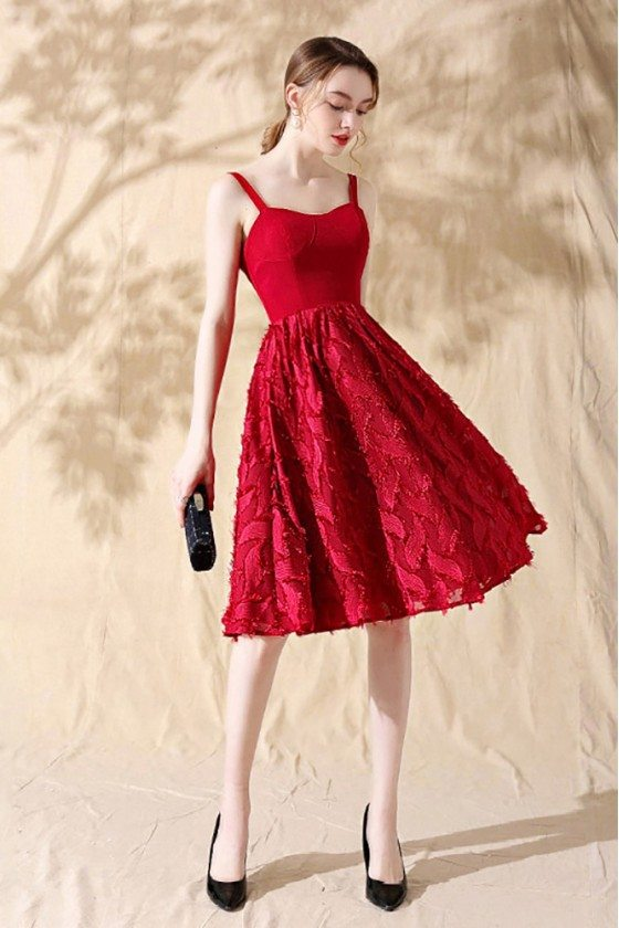Leaf Lace Aline Red Short Homecoming Party Dress with Straps