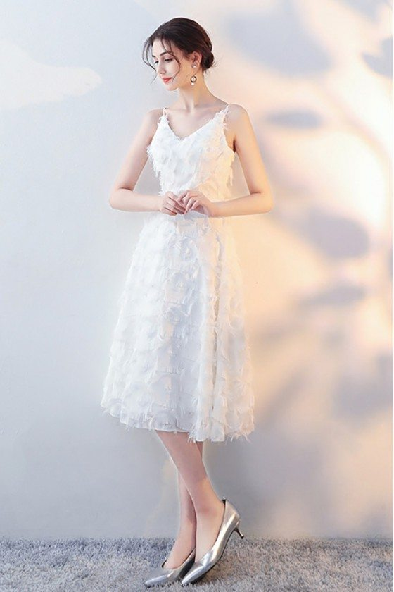 White Lace Feather Tea Length Party Dress with Straps