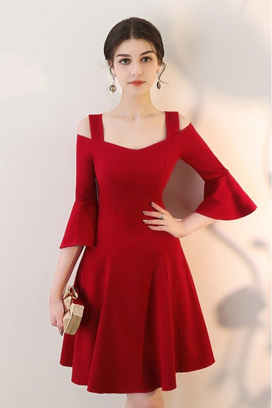Burgundy Short Red Homecoming Dress Aline with Bell Sleeves
