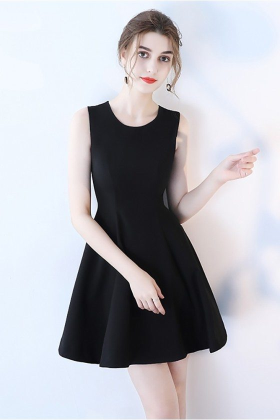 Little Black Simple Aline Homecoming Dress Sleeveless