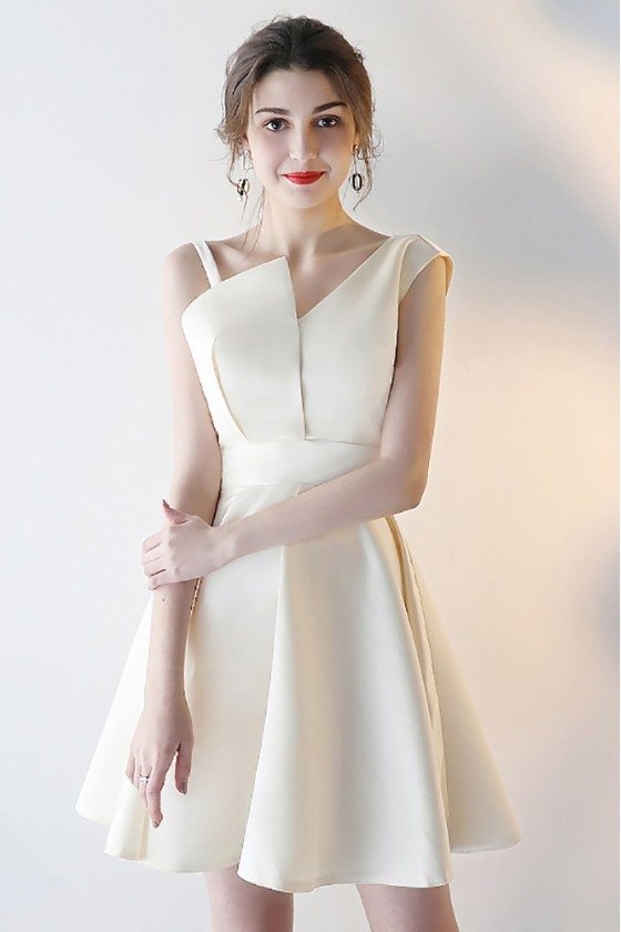 Champagne Short Satin Party Dress with Asymmetrical Straps
