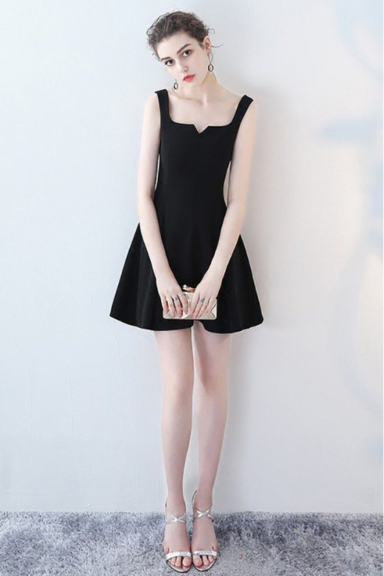 Little Black Mini Homecoming Party Dress Flare with Straps