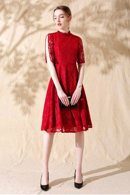 Red Lace Short Aline Formal...