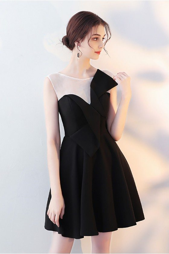 Little Black Flare Homecoming Dress with Sheer Neck