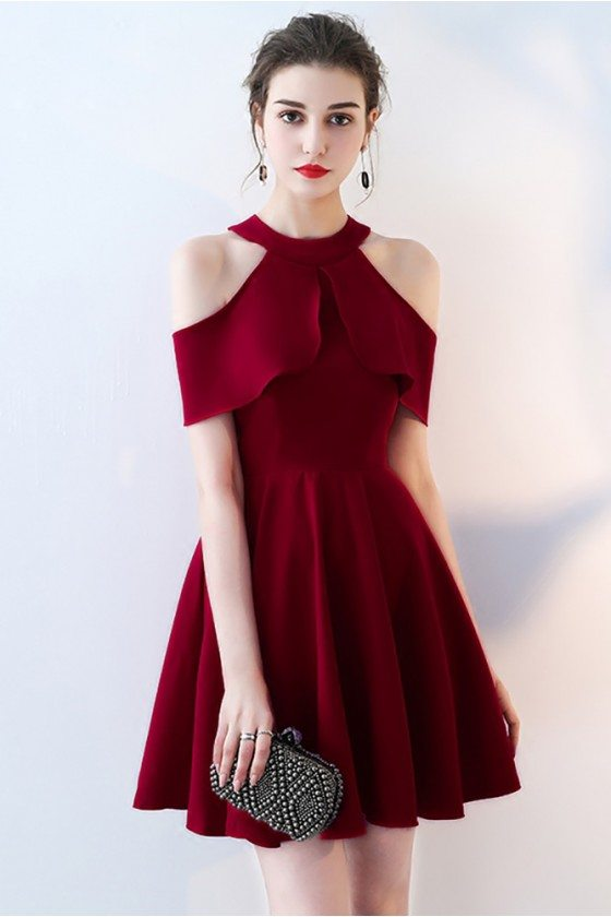 Burgundy Halter Short Homecoming Dress with Flounce
