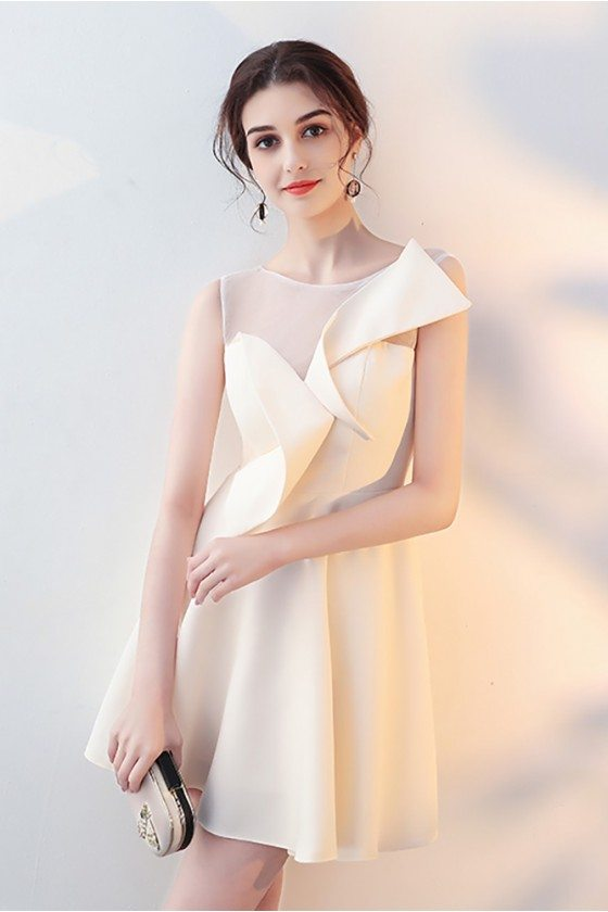Champagne Aline Short Homecoming Dress Sheer Neck with Wrap