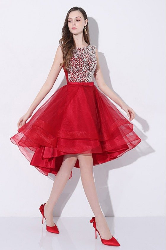 Sparkly Sequins Red Short Prom Homecoming Dress High Low with Open Back