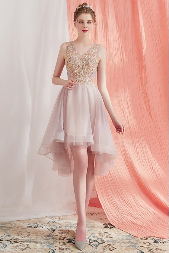 Pretty Short Party Homecoming Dress High Low Beaded Lace V-neck