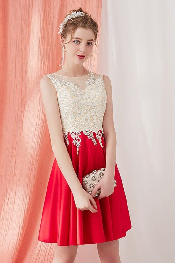 Pretty Aline Short Homecoming Dress Champagne and Red with Lace
