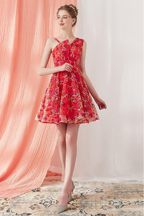 2018 Unique Embroidered Tulle Short Red Hommecoming Dress Flare