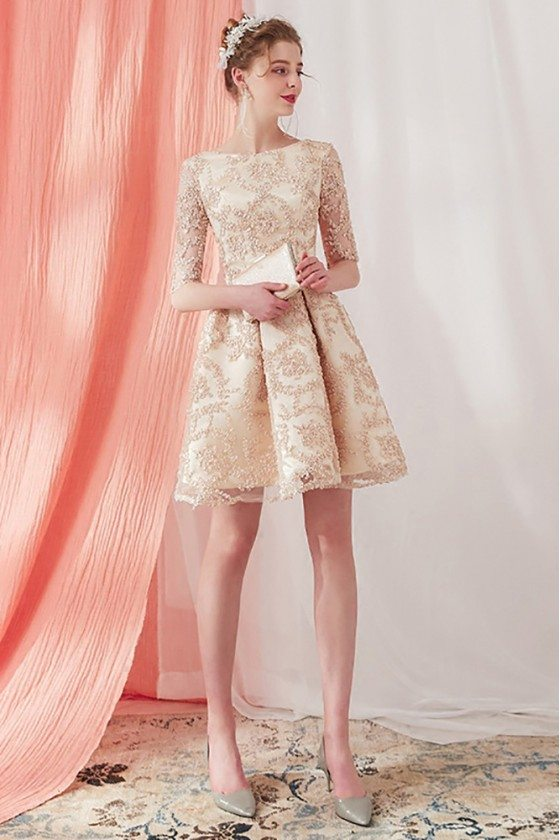 Elegant Champagne Lace Pleated Short Homecoming Dress Half Sleeved
