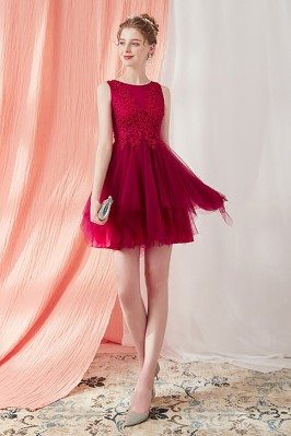 Burgundy Short Tulle...