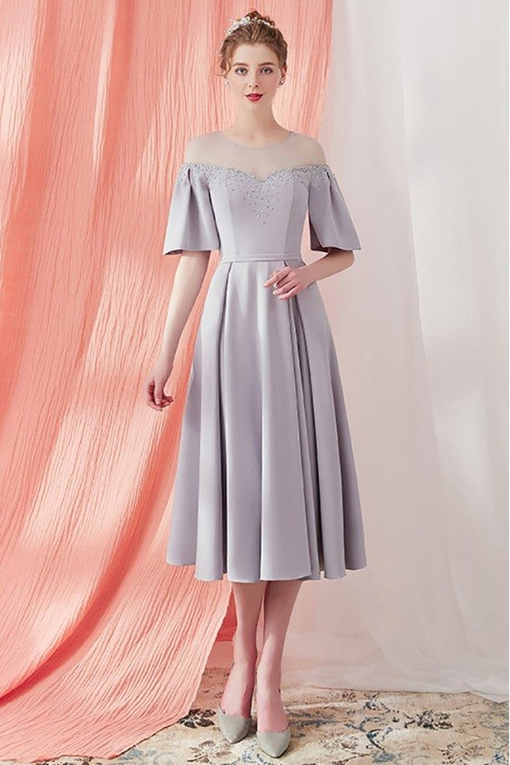 Vintage Grey Knee Length Party Dress with Sleeves Sheer Neckline
