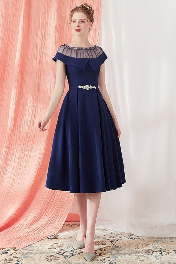Vintage Navy Blue Homecoming Party Dress Knee Length with Belt