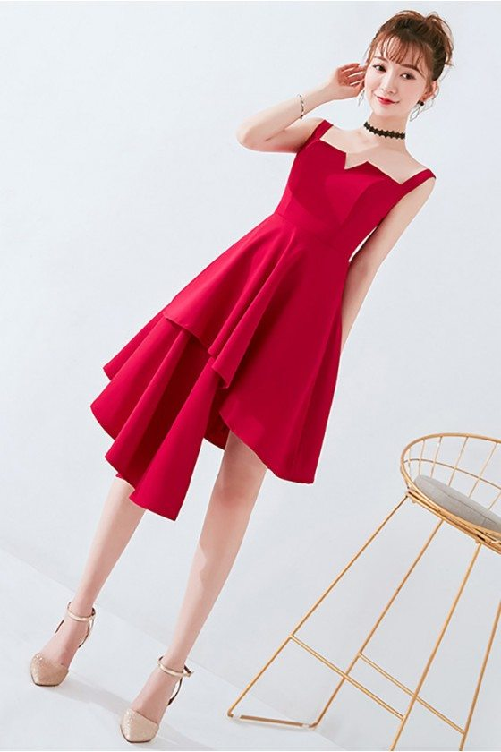 Korean Chic Burgundy Short Homecoming Dress with Straps 2018