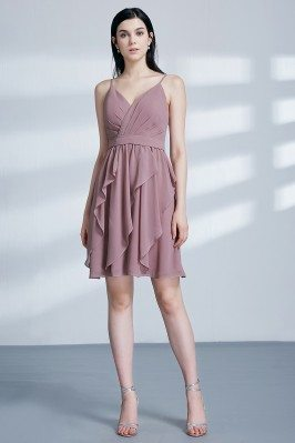 Short Pleated Purplish Pink...