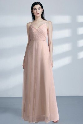 Blush Long Pleated Chiffon...