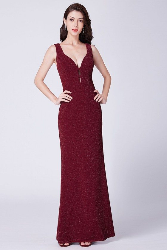 Shiny Burgundy Long Mermaid Evening Party Dress With Deep V Neck