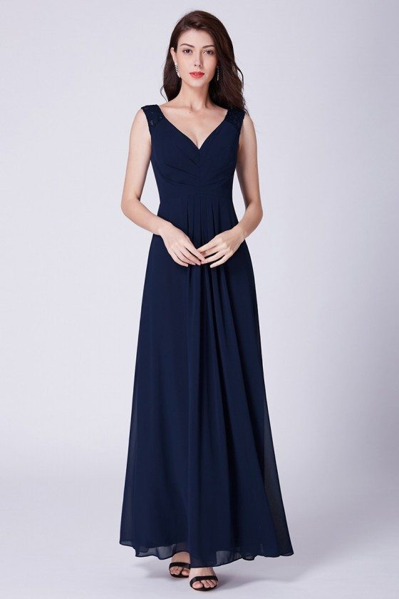 Simple Navy Blue Long Pleated Bridesmaid Dress With Lace
