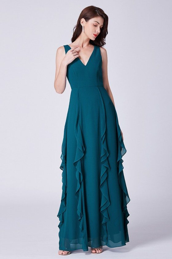 Long Ruffled Teal Prom Dress With Double V Neck In Mermaid Style