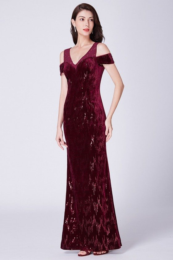 Sparkly Burgundy Off Shoulder Fitted Sequined Formal Evening Dress