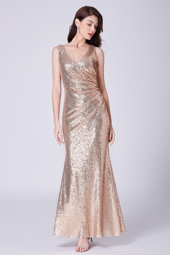 Sparkly Gold Sequin Long Pleated Formal Dress For Wedding Guests