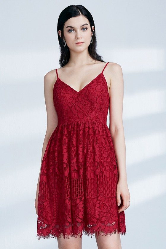 Short Red Lace Homecoming Party Dress With Spaghetti Straps