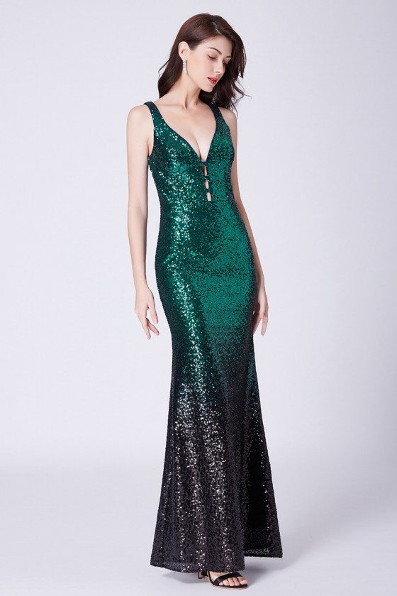 Sparkly Sequined Long Green Black Prom Party Dress With V Neck