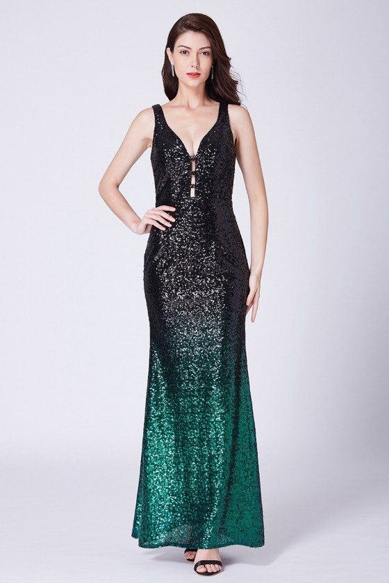 Black And Green Sparkly Sequin Long Formal Party Dress With Deep V Neck