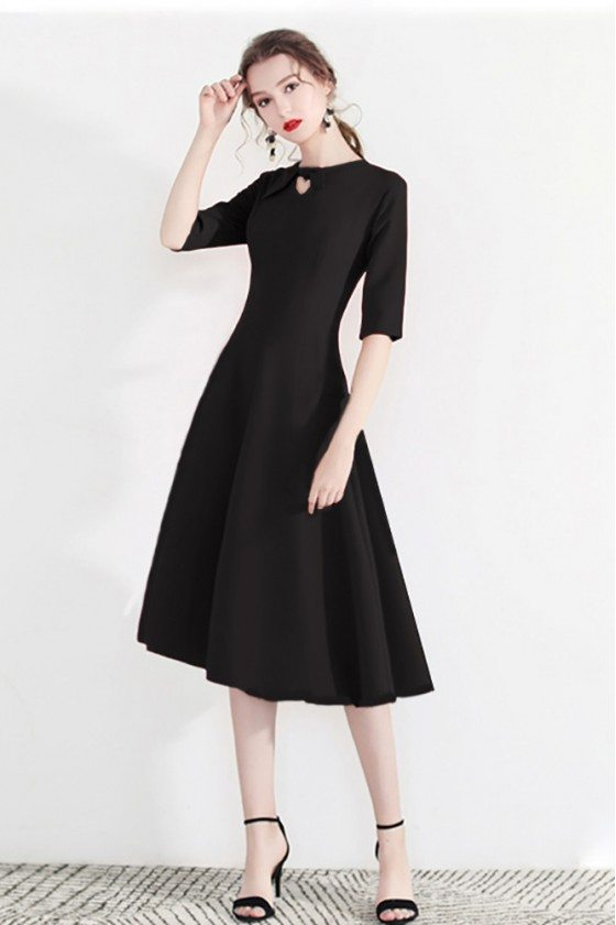 Fashion Black Semi Party Dress Half Sleeve With Retro Bow
