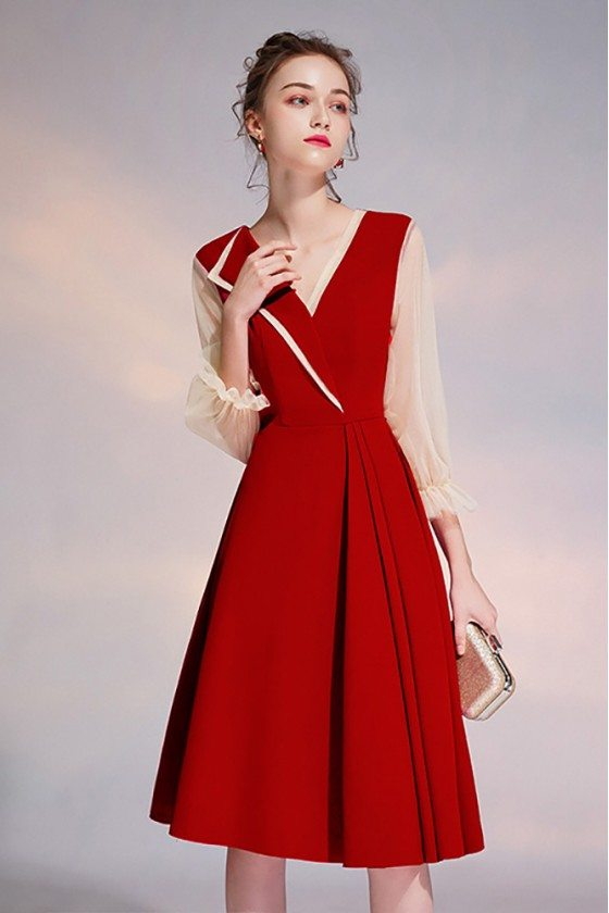 Pleated Vneck Red Party Dress Knee Length With Bubble Sleeves