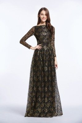 Vintage Black And Gold Long Sleeve Formal Gown