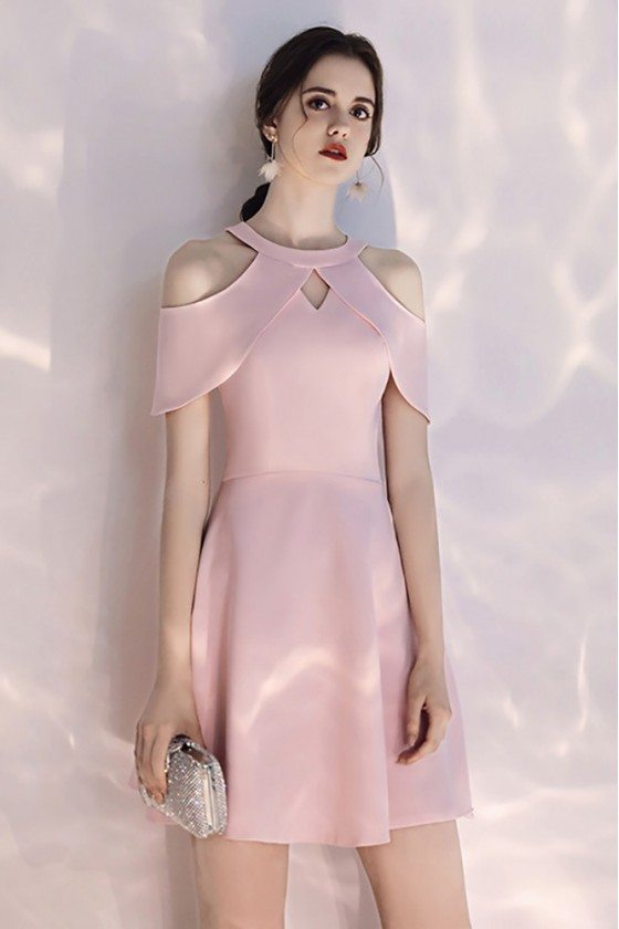 Short Halter Pretty Pink Party Dress With Cold Shoulder