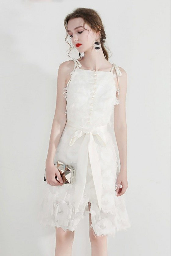 Big Bow Front Little White Hoco Dress With Bow Straps