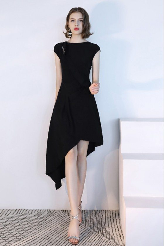 Black Chic Asymmetrical Semi Party Dress With Cap Sleeves