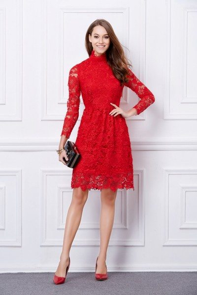 Red High-end Lace Long Sleeve Short Dress