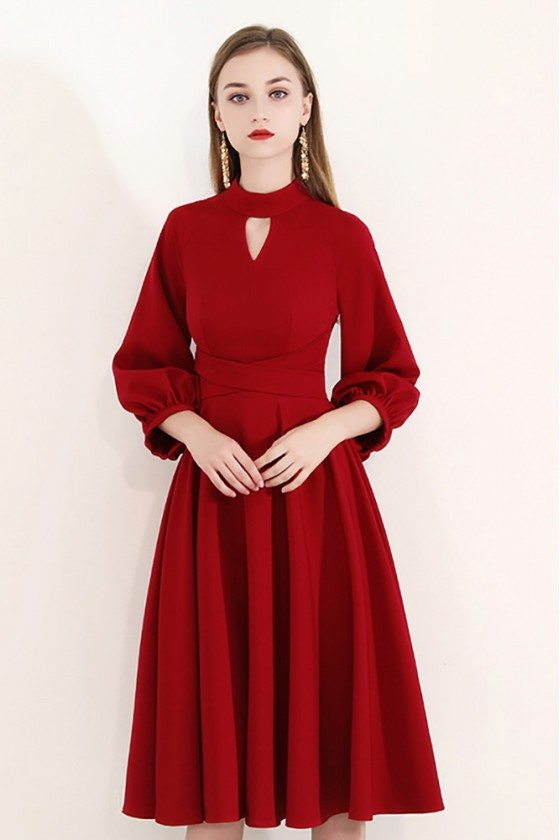 Elegant Burgundy Knee Length Party Dress With Bubble Sleeves