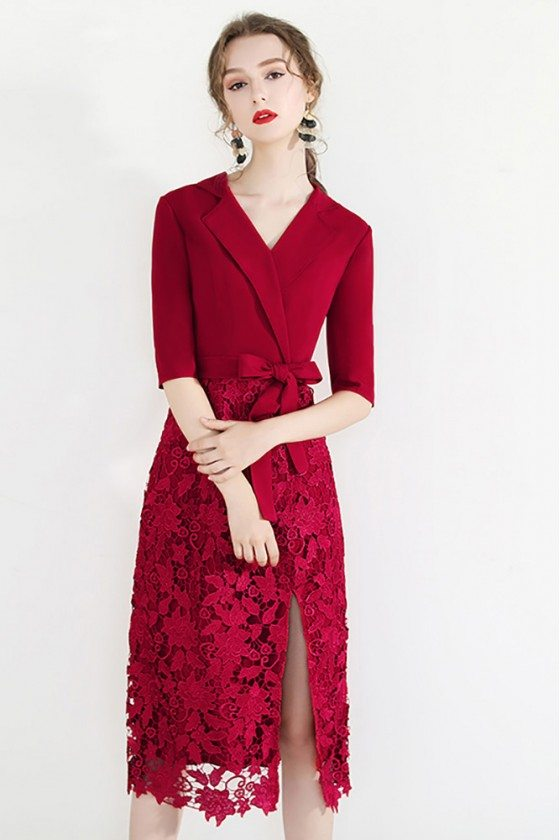 Chic Short Red Lace Formal Dress With Side Slit Suit Collar