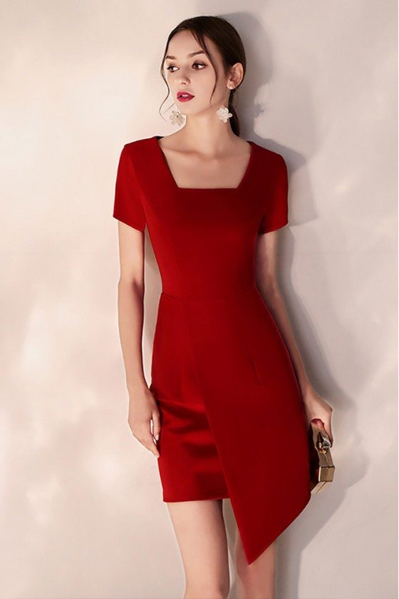 Little Red Short Bodycon Party Dress Square Neck Short Sleeves
