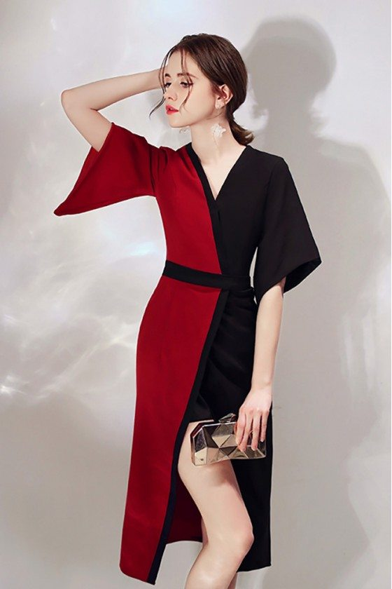 Classy Black And Red Color Blocks Party Dress Slit With Sleeves