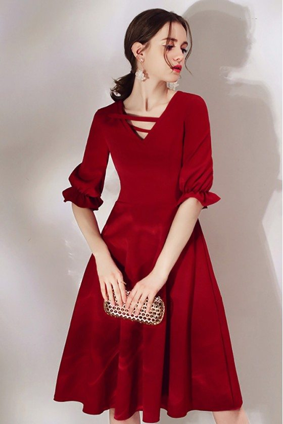 French Chic Burgundy Knee Length Party Dress With Bubble Sleeves