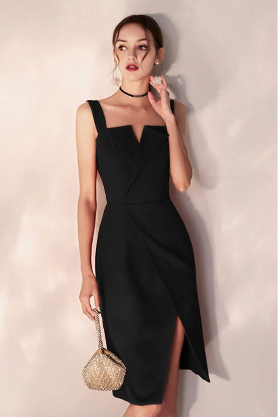 Chic Black Bodycon Party Dress Fitted Short With Slit Straps