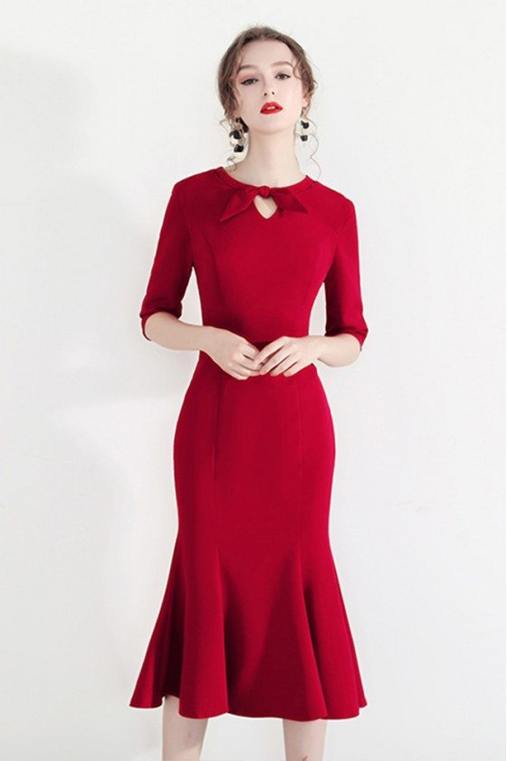 Bodycon Mermaid Chic Red Retro Party Dress With Half Sleeves